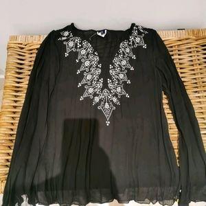 Boho sheer black long sleeve top with ties